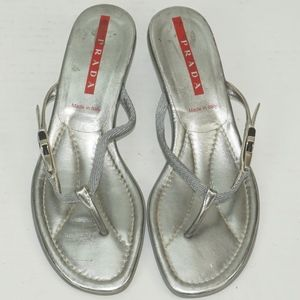 448be5bcfcc0 Vintage Prada Silver Buckle Thong Sandal
